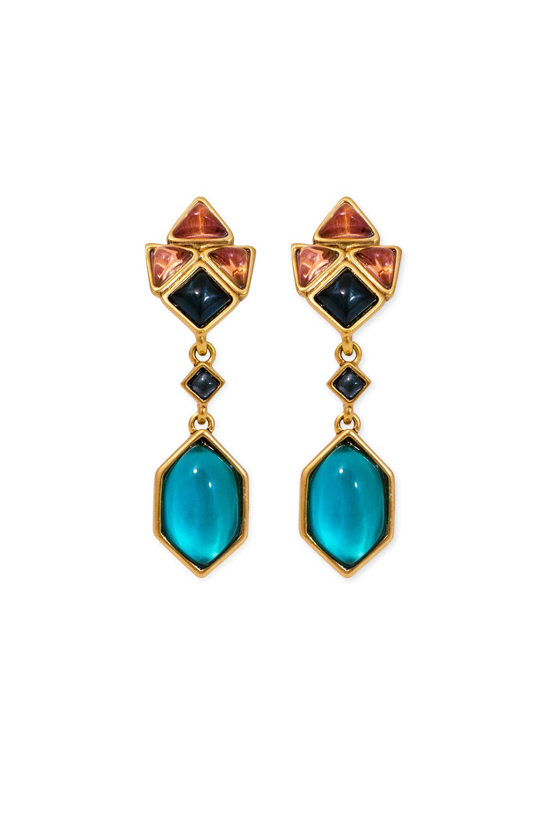 Dusky Tile Drop Earrings by Oscar de la Renta