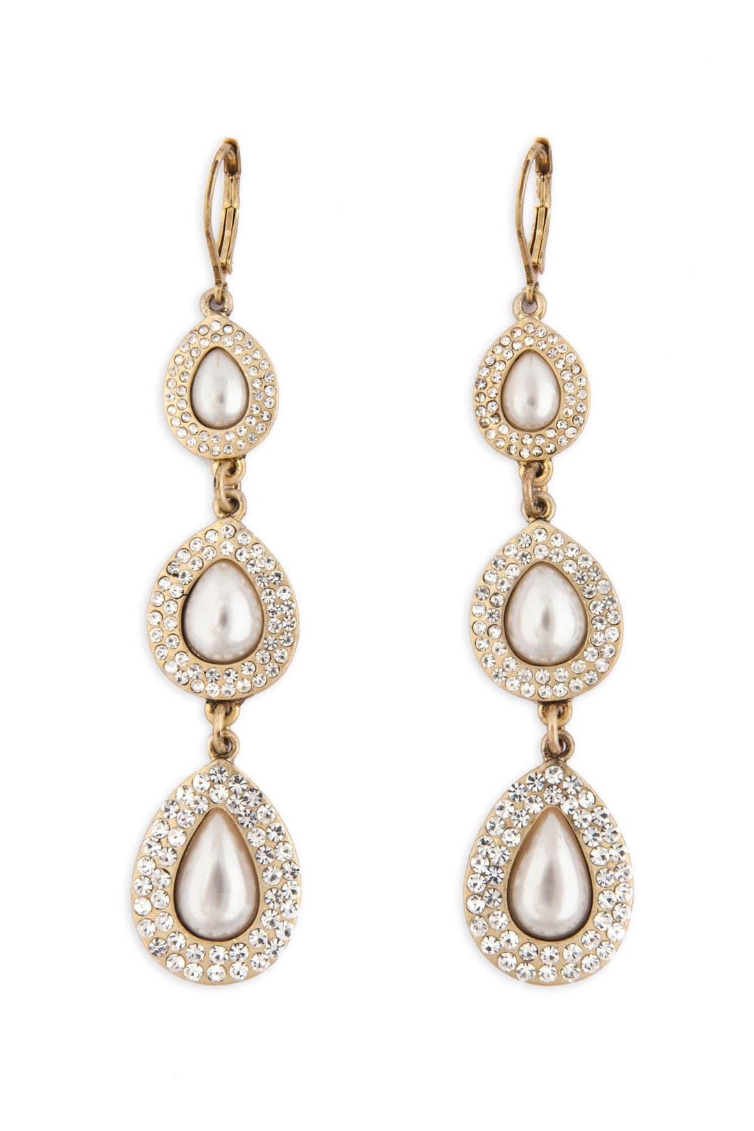 Teardrop Pearl Earrings by Nicole Miller Accessories