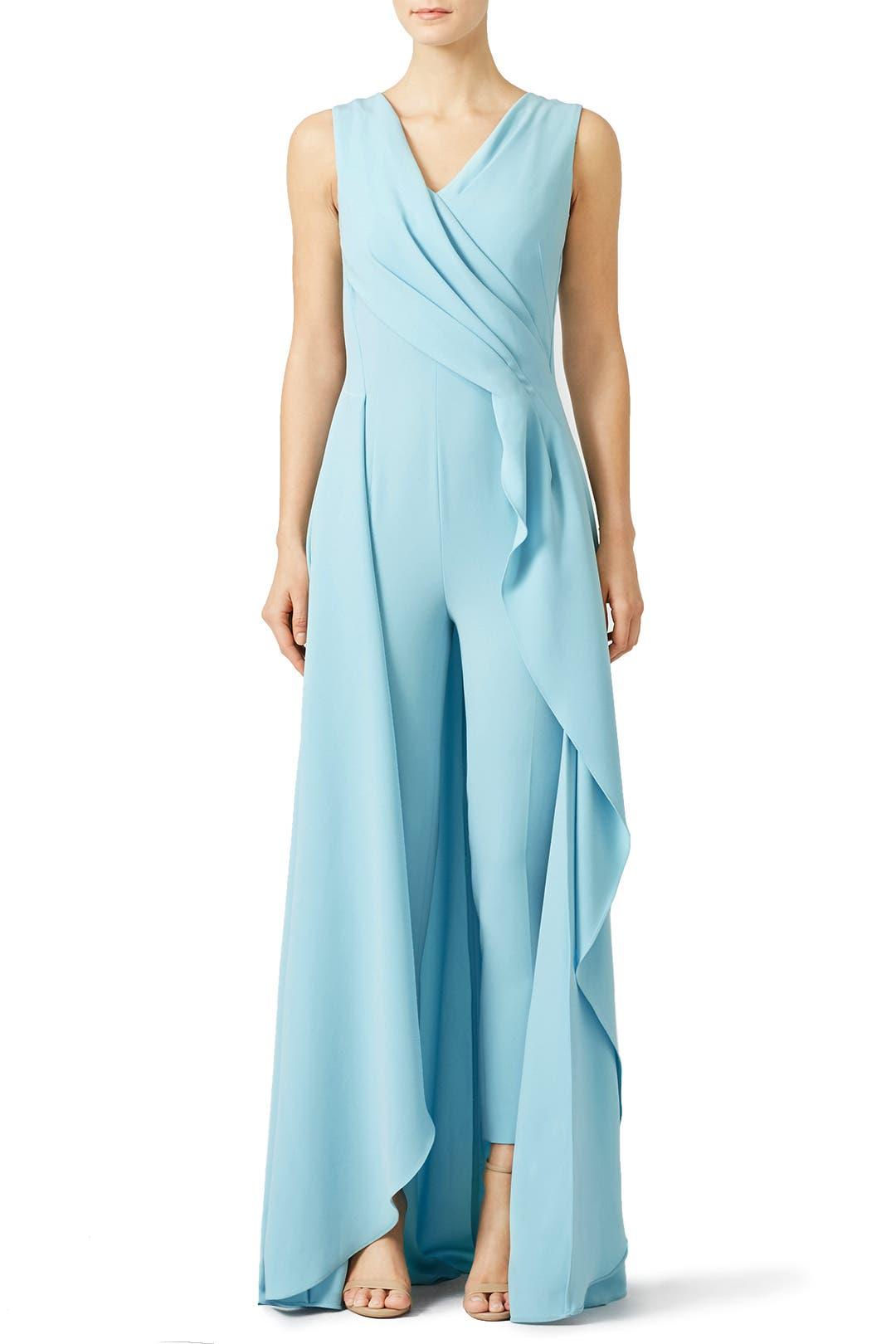 Blue Dressy Plus Jumpsuit: Light Blue Petal Jumpsuit By Escada For $400