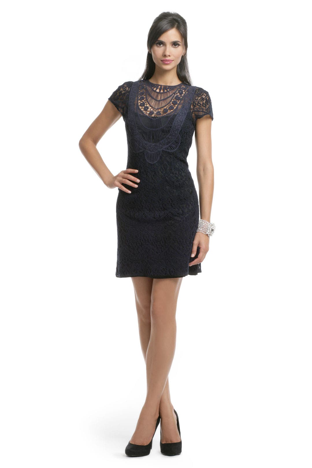 Navy Lace Crew Dress by Nanette Lepore