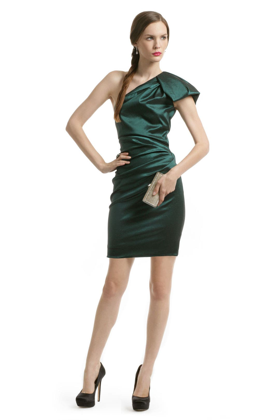 Emerald Gem Ruched Dress by Badgley Mischka