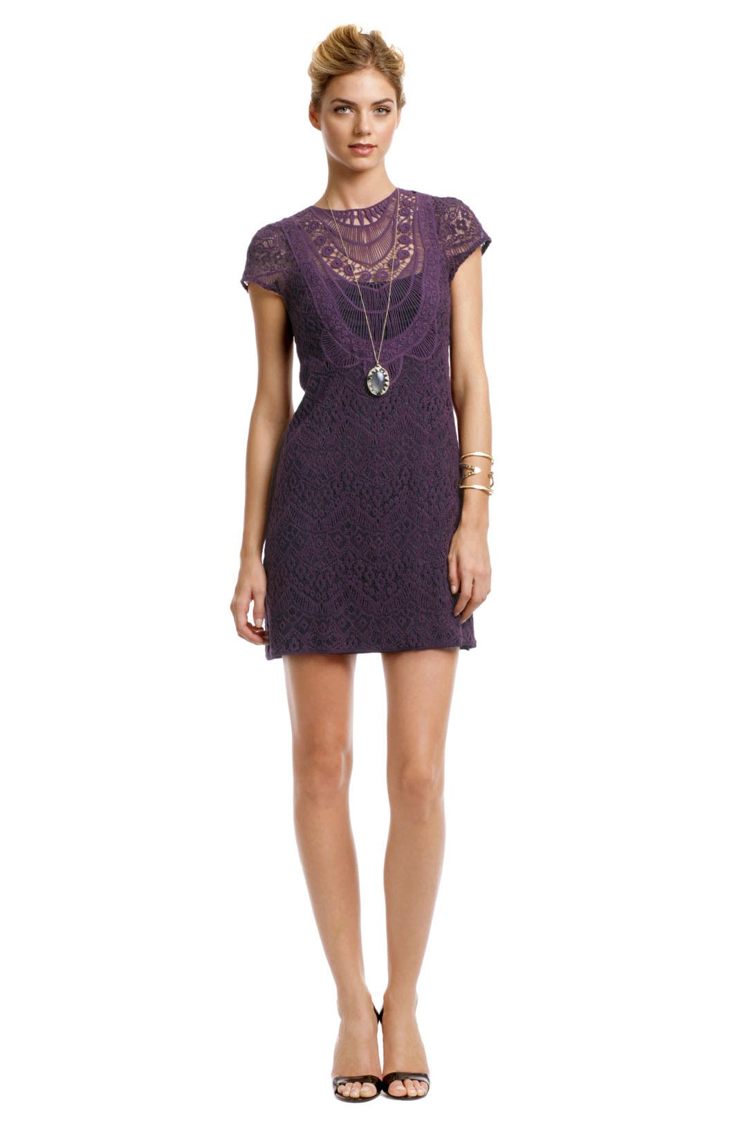 Rustic Plum Lace Dress by Nanette Lepore