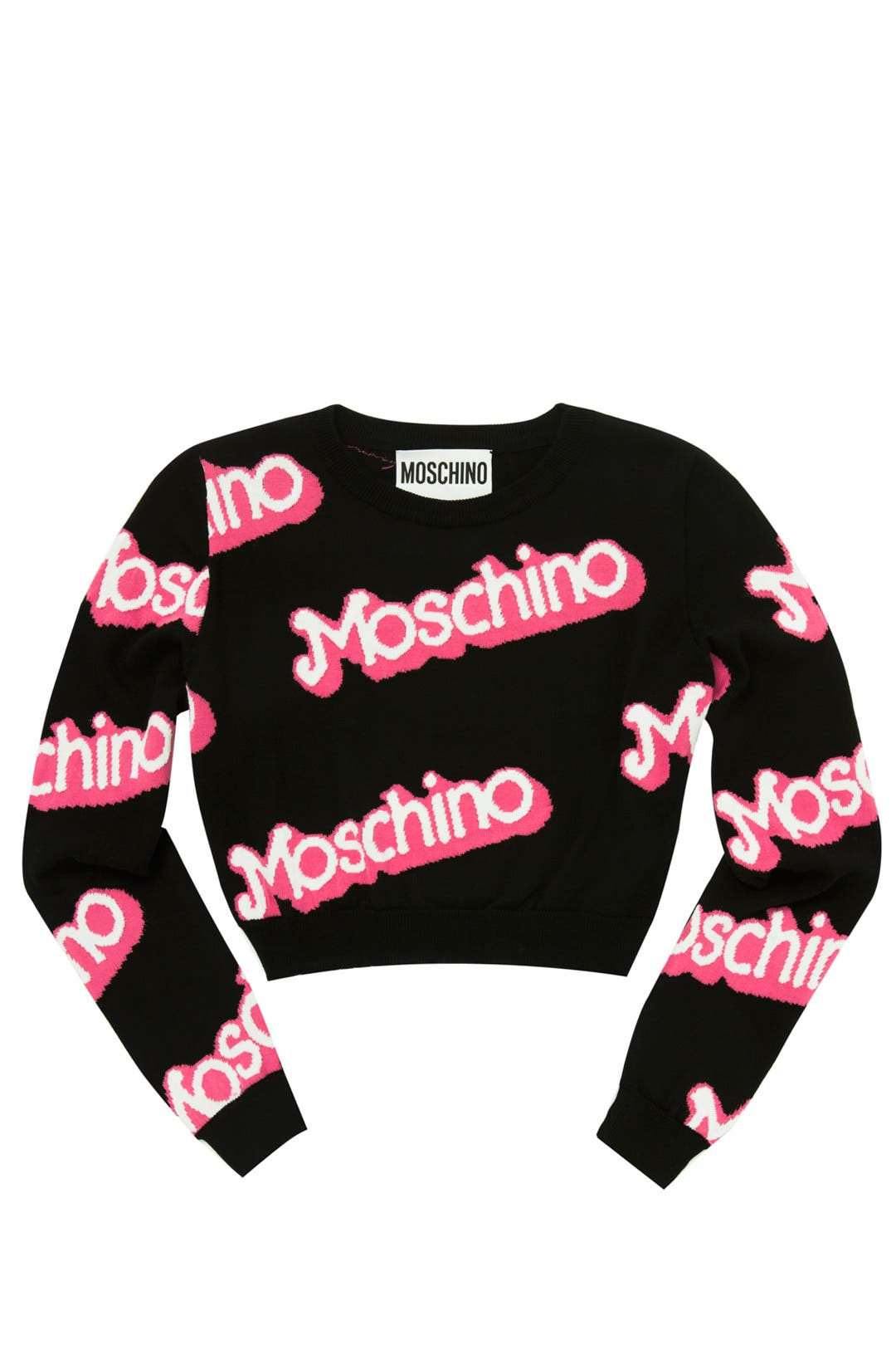 Black Think Pink Cropped Sweater by Moschino for $156 | Rent the ...