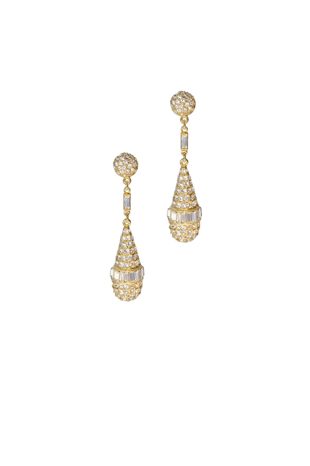 Gold Deco Crystal Teardrops by Ben-Amun