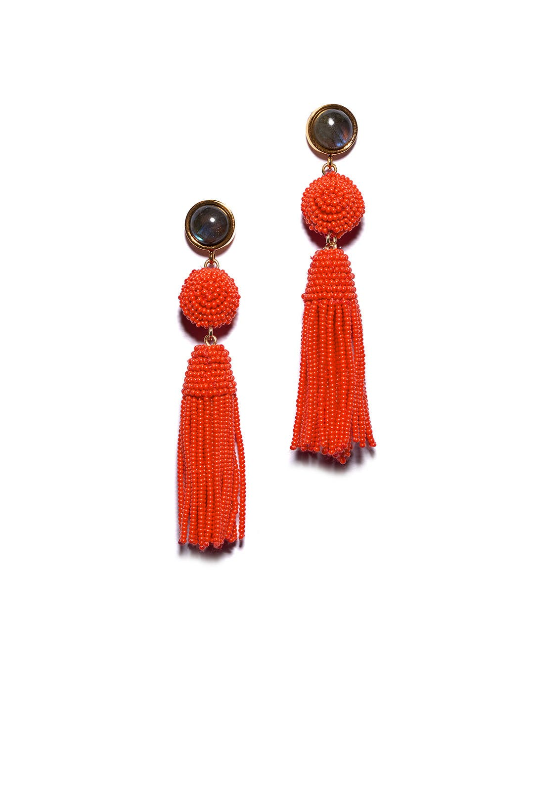 Red Havana Tassel Earrings By Lizzie Fortunato For 30