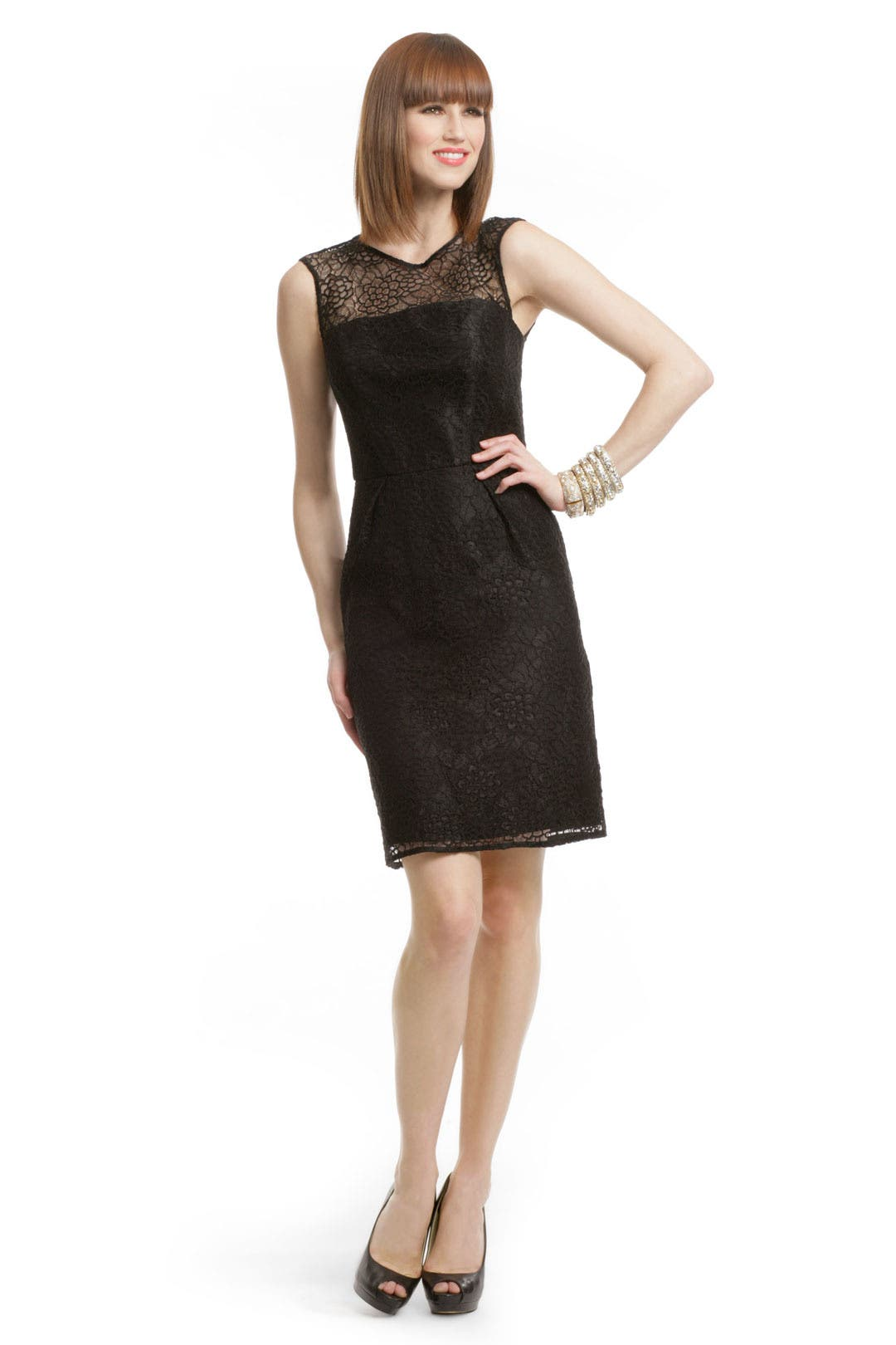 Lace Illusion Flutter Dress by Milly
