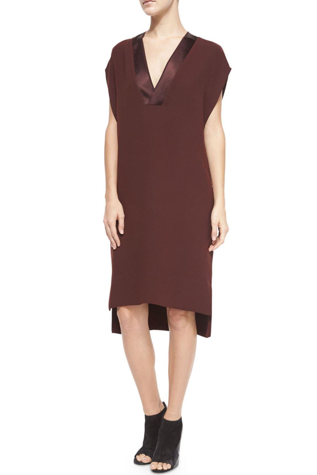 burgundy sheen trim dress by vince for 70 rent the runway. Black Bedroom Furniture Sets. Home Design Ideas