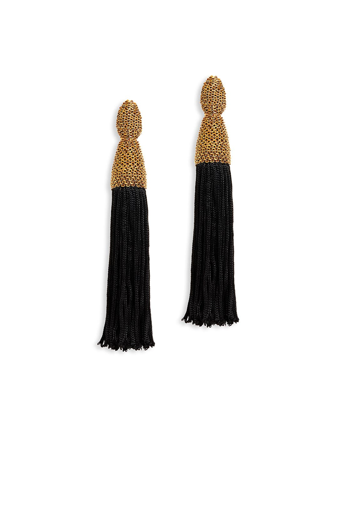 Long Silk Tassel Earrings by Oscar de la Renta