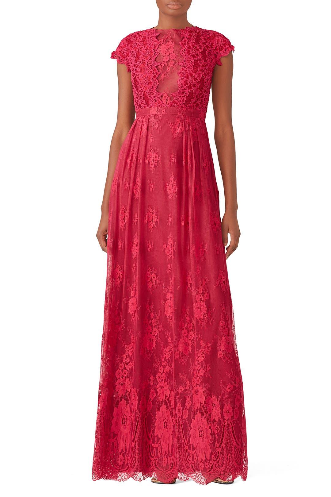 Berry Floral Lace Gown By Ml Monique Lhuillier For 60