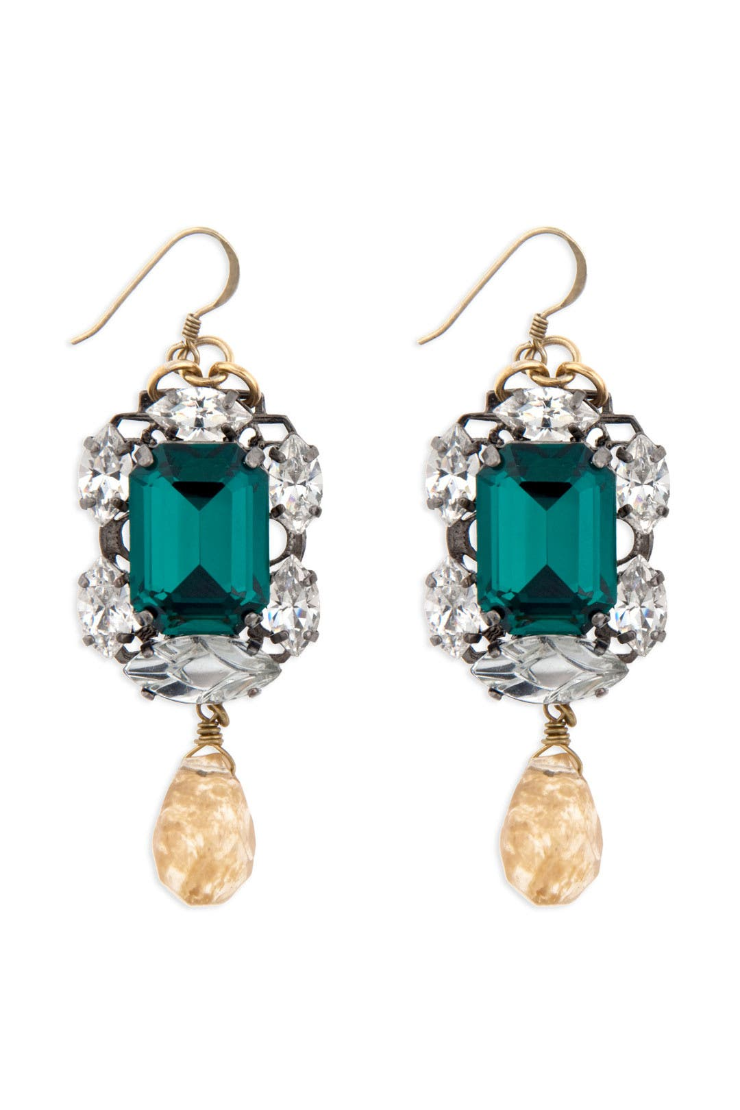 Entrapping Emerald Stone Drop Earrings by Anton Heunis