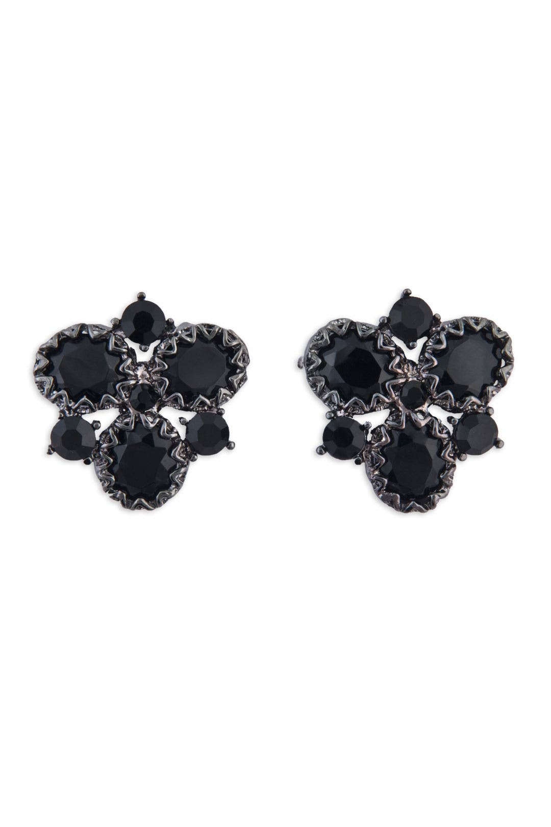 Black Crystal Cluster Earrings by Badgley Mischka Jewelry