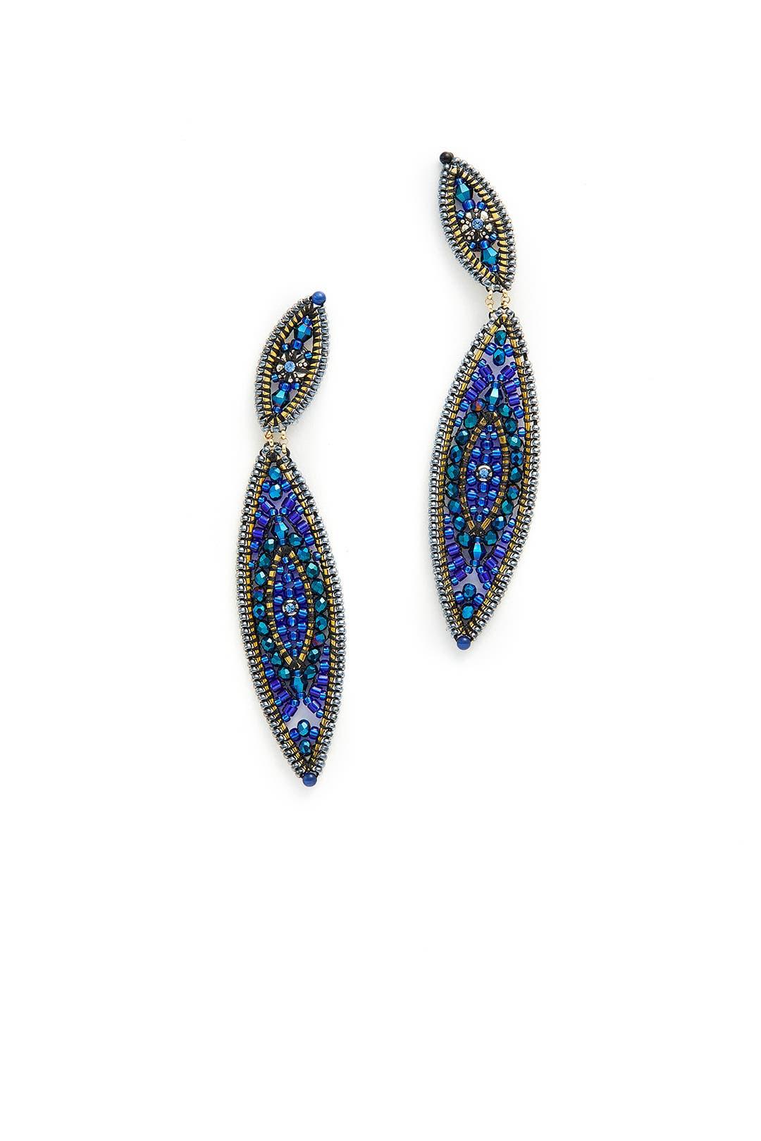 Miguel Ases Sapphire Bay Leaf Earrings