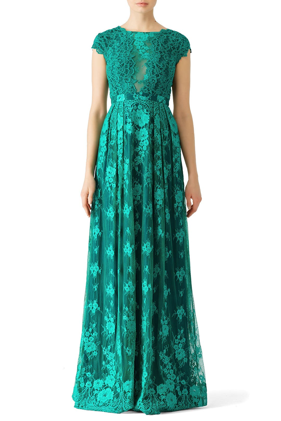 Green Floral Lace Gown By Ml Monique Lhuillier For 75