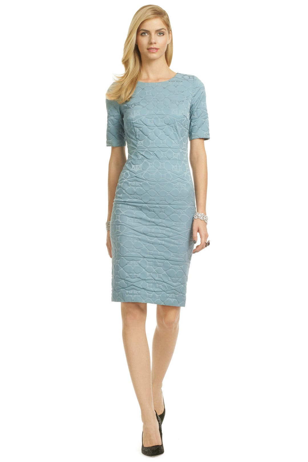 Blue Ripple Marks Sheath by Vera Wang