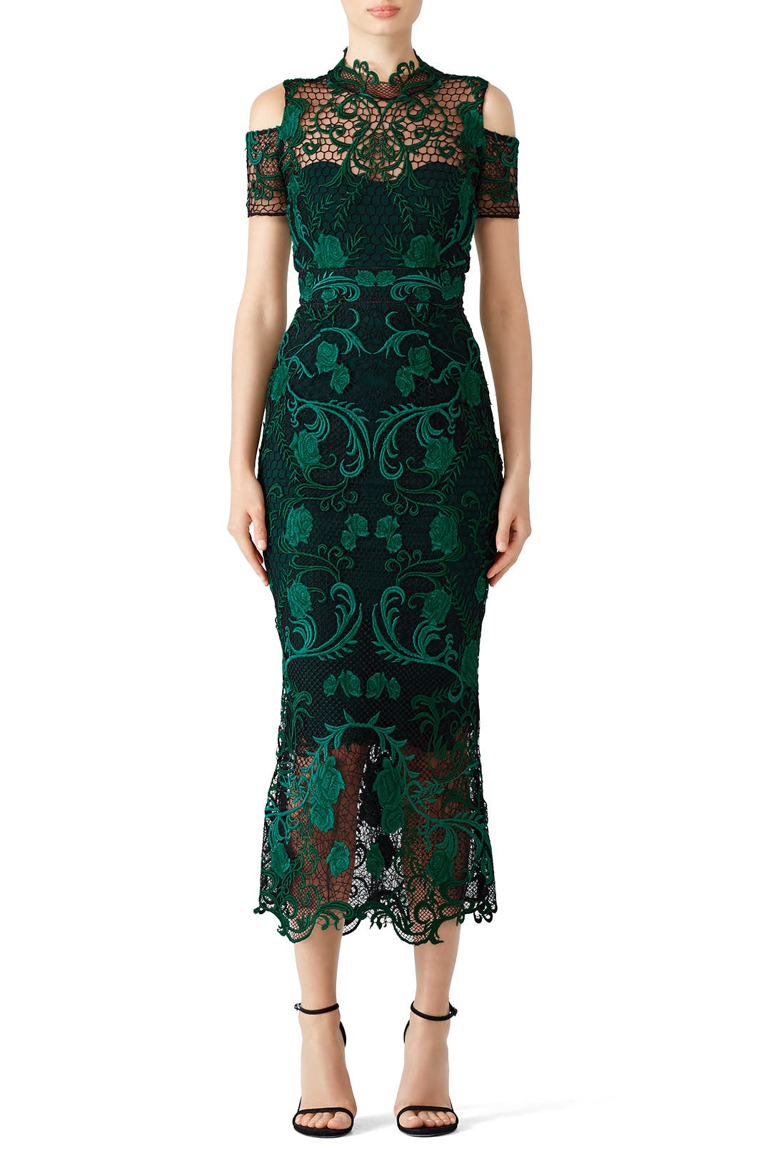 Green Lace Cocktail Dress By Marchesa Notte For 100