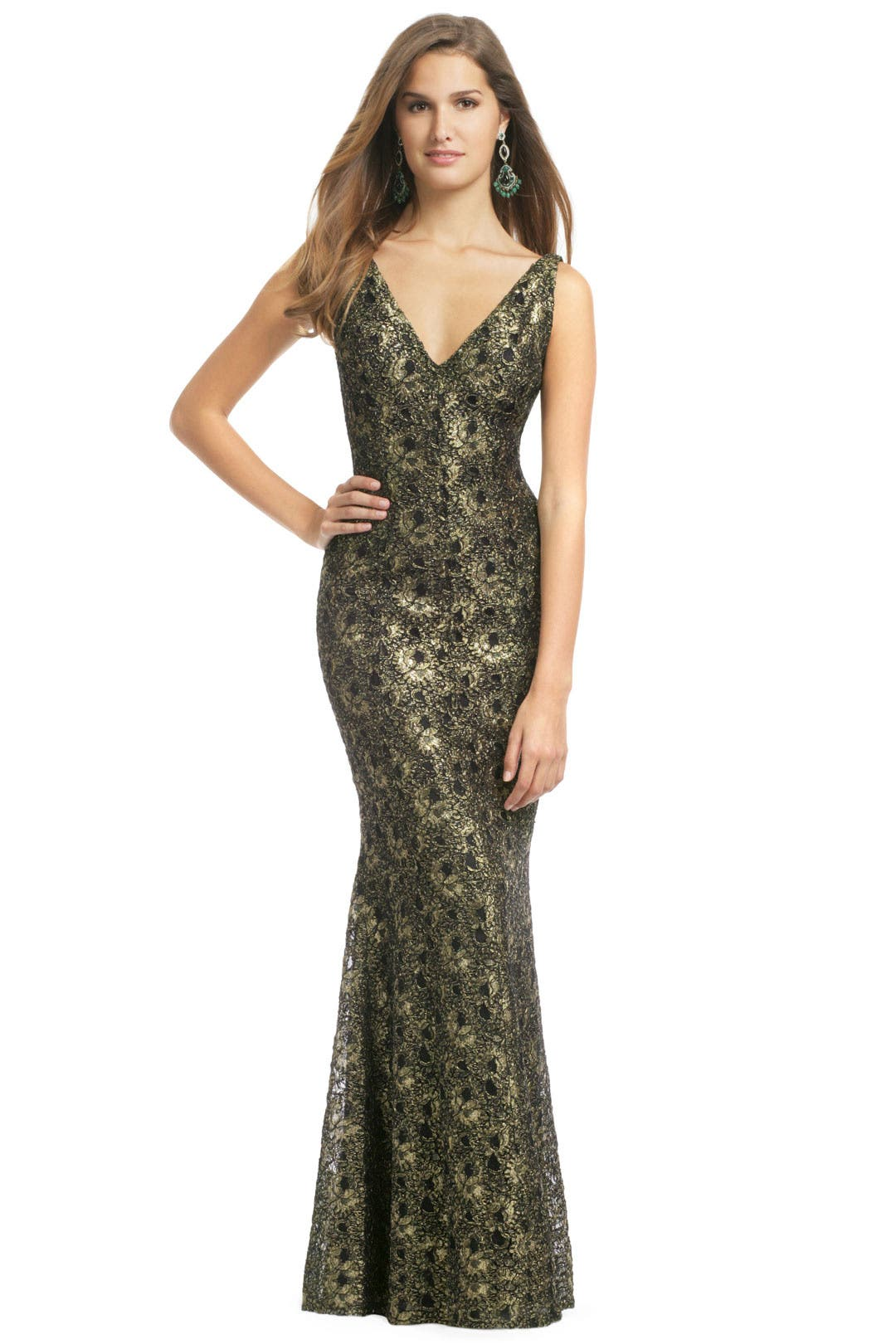 Carmen Marc Valvo. Golden Leaf Gown