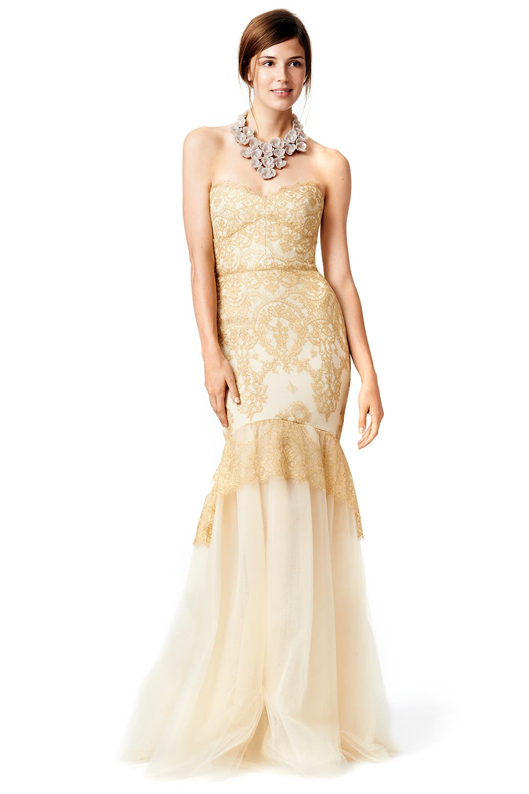dipped in gold mermaid gown by marchesa notte for 95 115 rent the runway