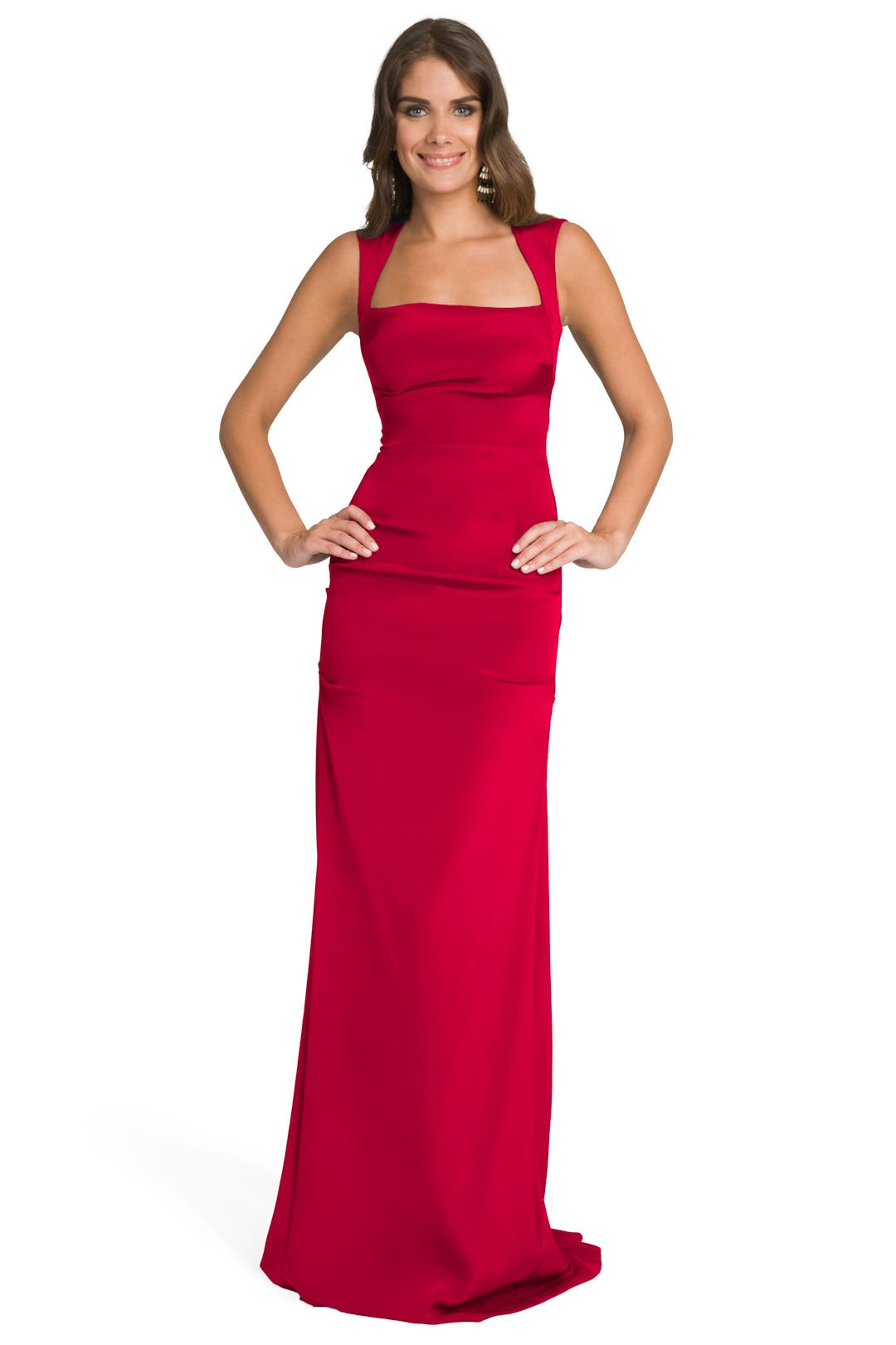 Cherry Square Neck Gown by Nicole Miller
