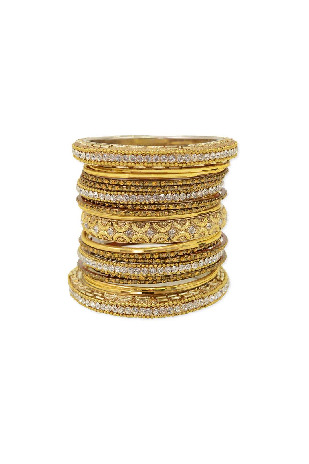 Gold Glitz Bangle Stack by Chamak by Priya Kakkar