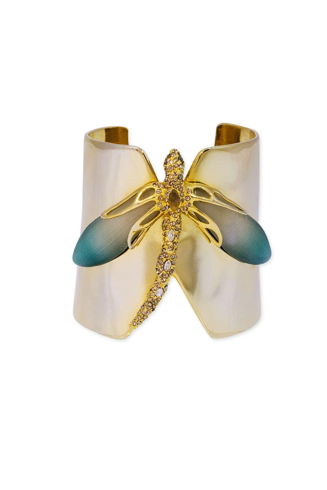 Gold Dragonfly Cuff by Alexis Bittar