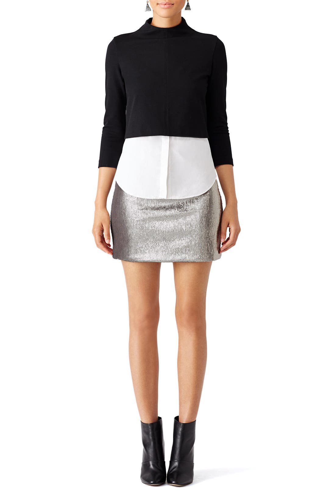 Silver Sequin Mini Skirt By Halston Heritage For 45