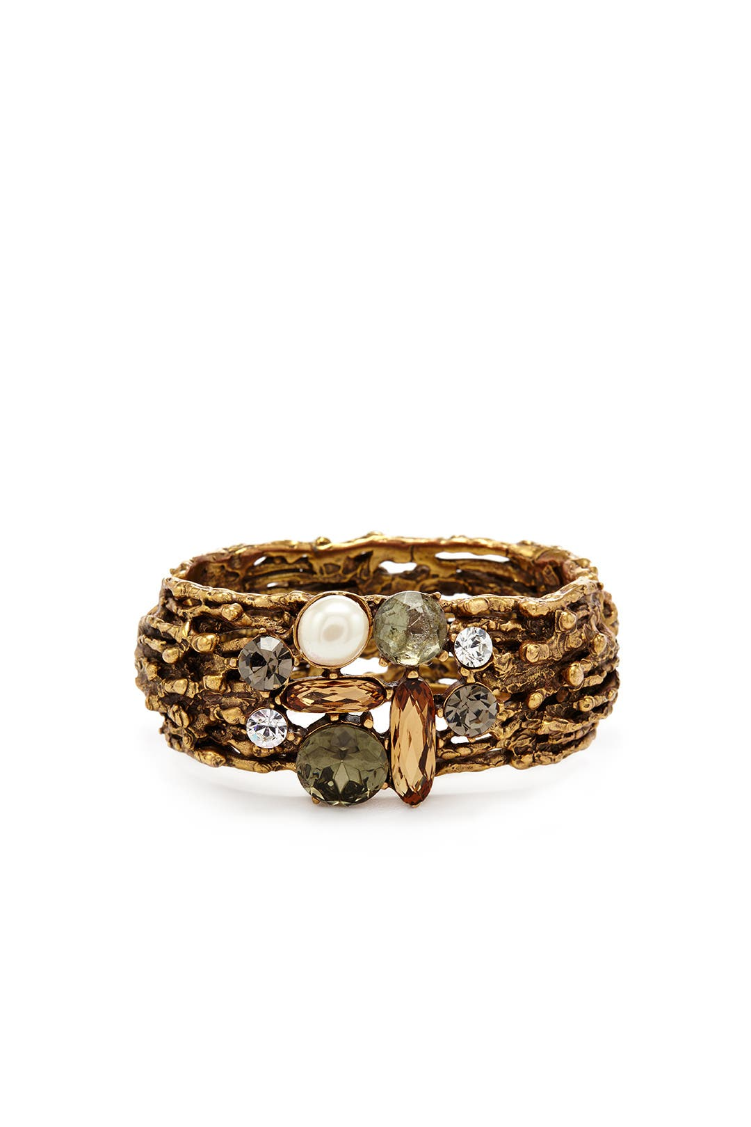 Jeweled Champagne Branch Cuff by Oscar de la Renta