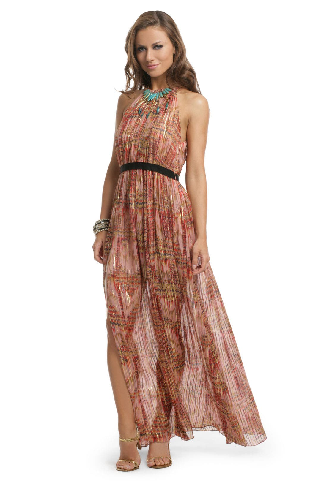 Lurex Drip Halter Bow Gown by Thread Social
