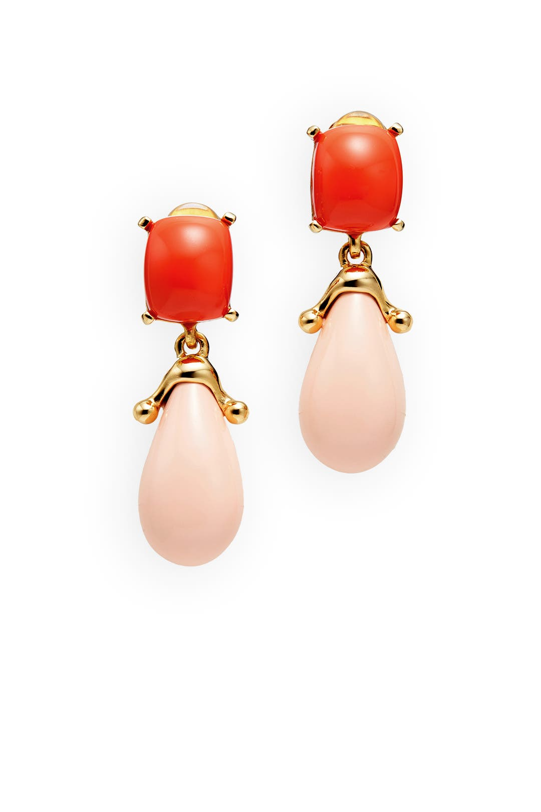 Pink and Red Colorblock Drop Earrings by Kenneth Jay Lane