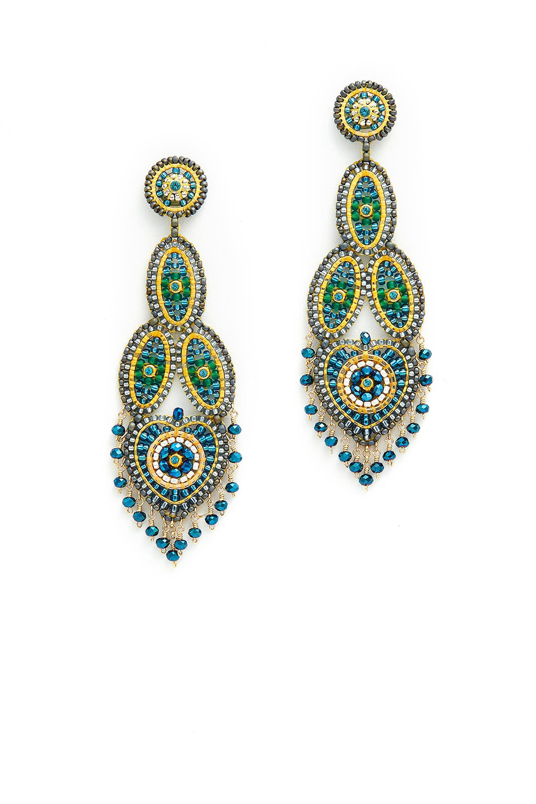 Yellow Paisley Dangling Earrings by Miguel Ases for $65   Rent the Runway