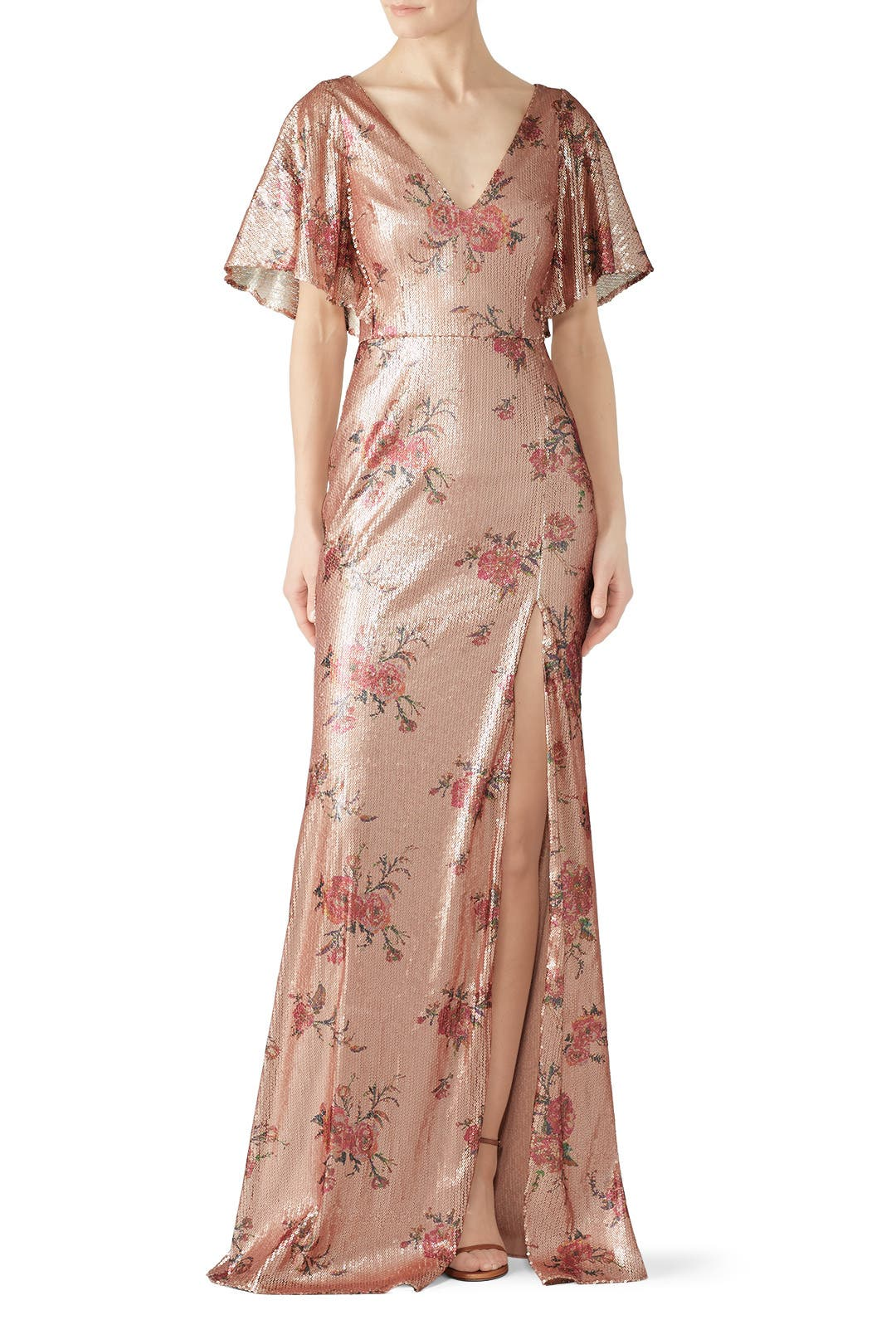 02ec102859fa0 Blush Floral Sequin Gown by Marchesa Notte for $60 | Rent the Runway