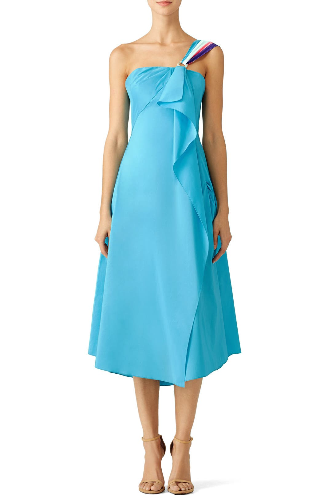 Turquoise Corset Midi Dress by Peter Pilotto for $274 | Rent the Runway
