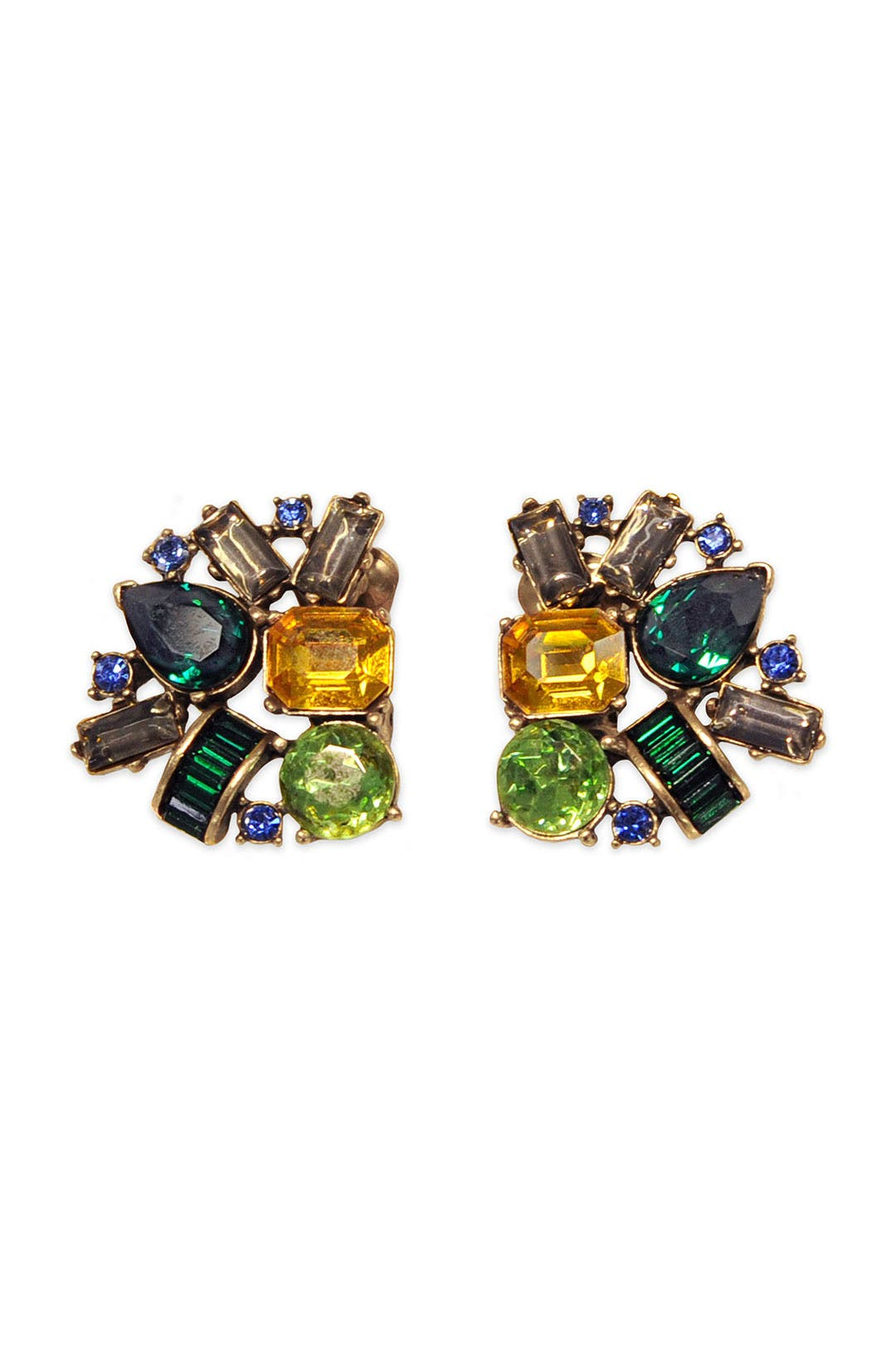 Emerald Confetti Cluster Earrings by Oscar de la Renta
