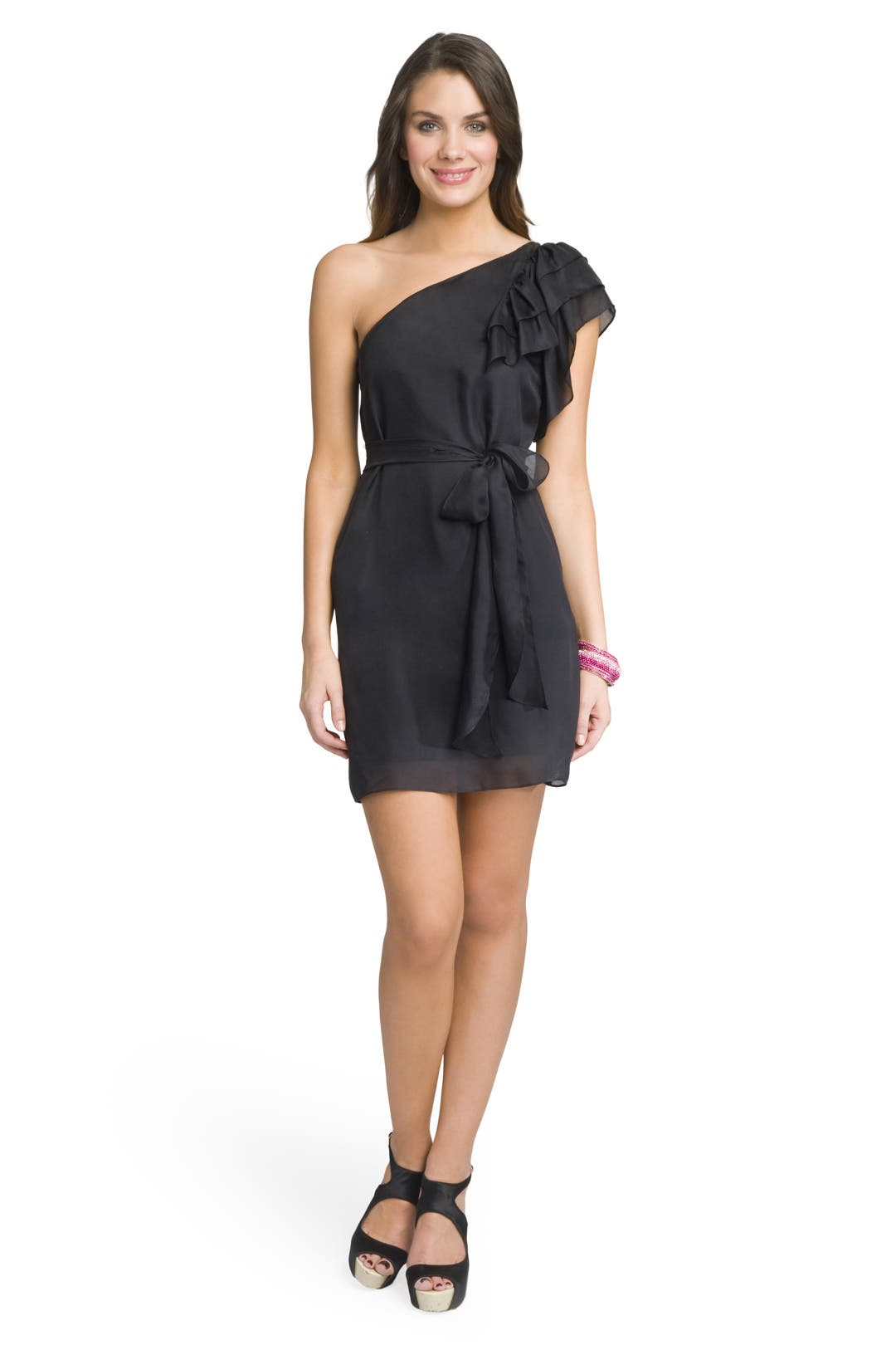 Pretty Belted Ruffle Dress by Milly