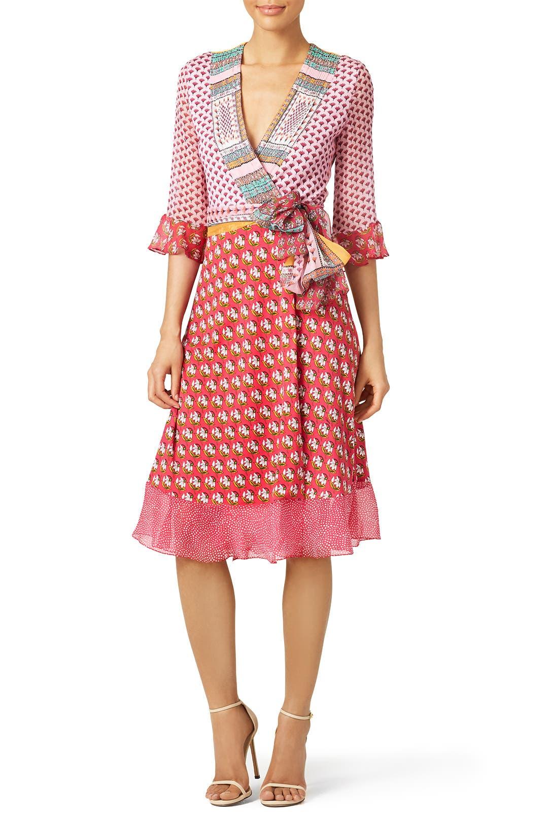pink nieves wrap dress by diane von furstenberg for 100