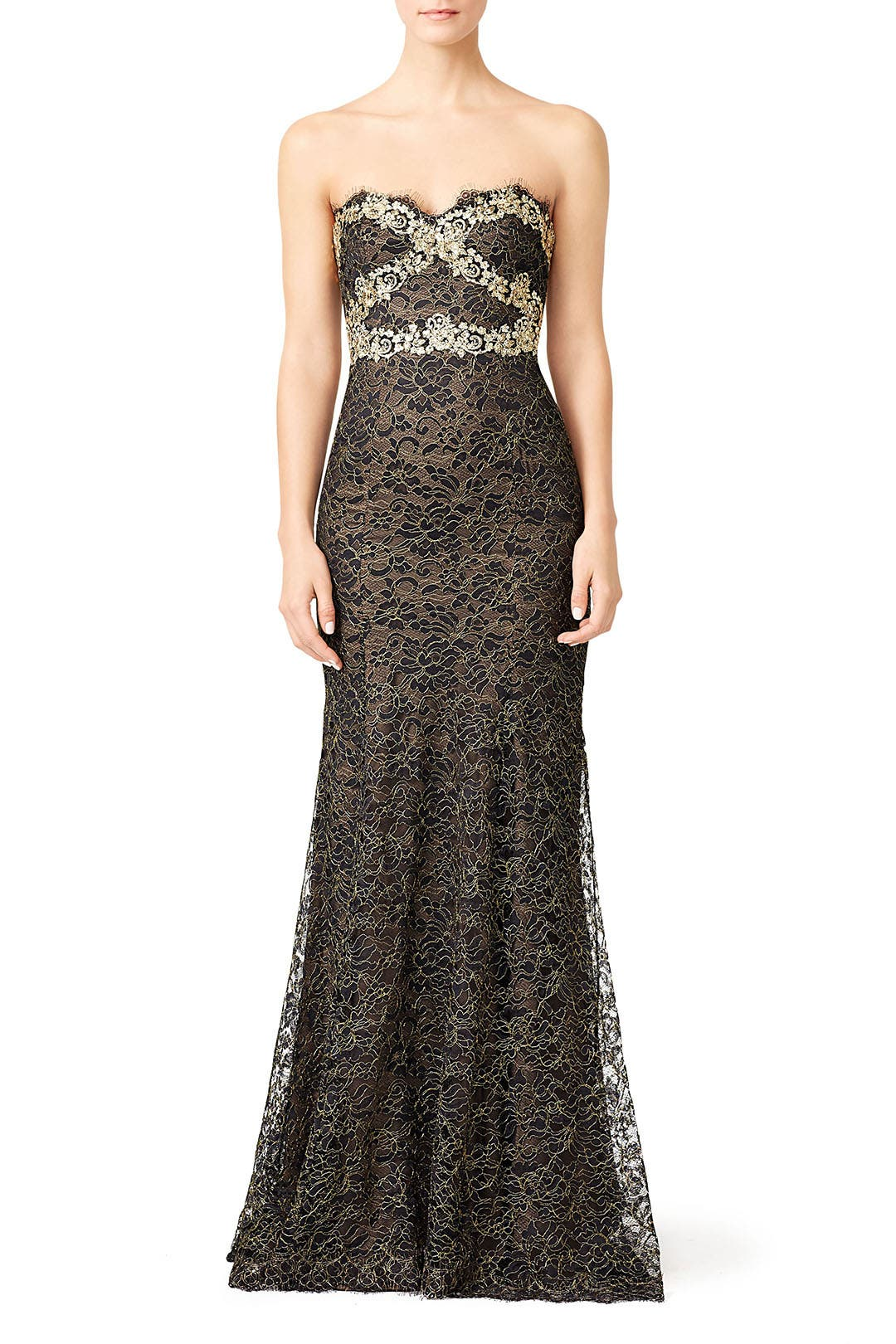 3451cdeb Gilded Gold Strapless Gown by Marchesa Notte for $215 | Rent the Runway