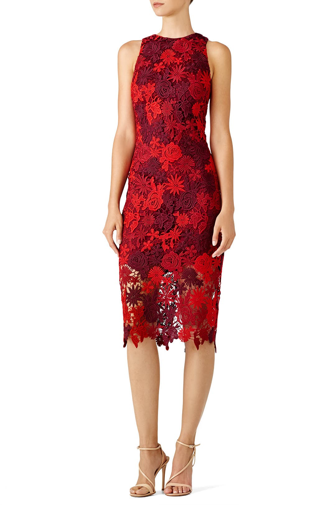 Red Floral Lace Sheath By Alexia Admor For 30 45