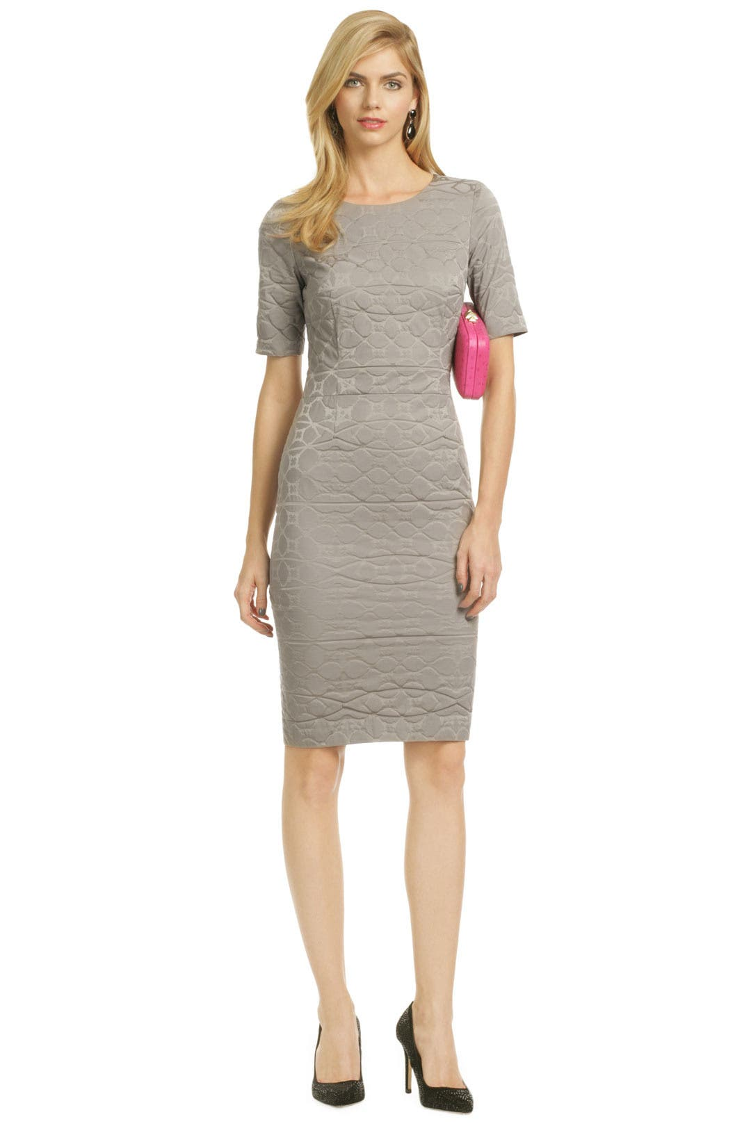 Gray Ripple Marks Sheath by Vera Wang