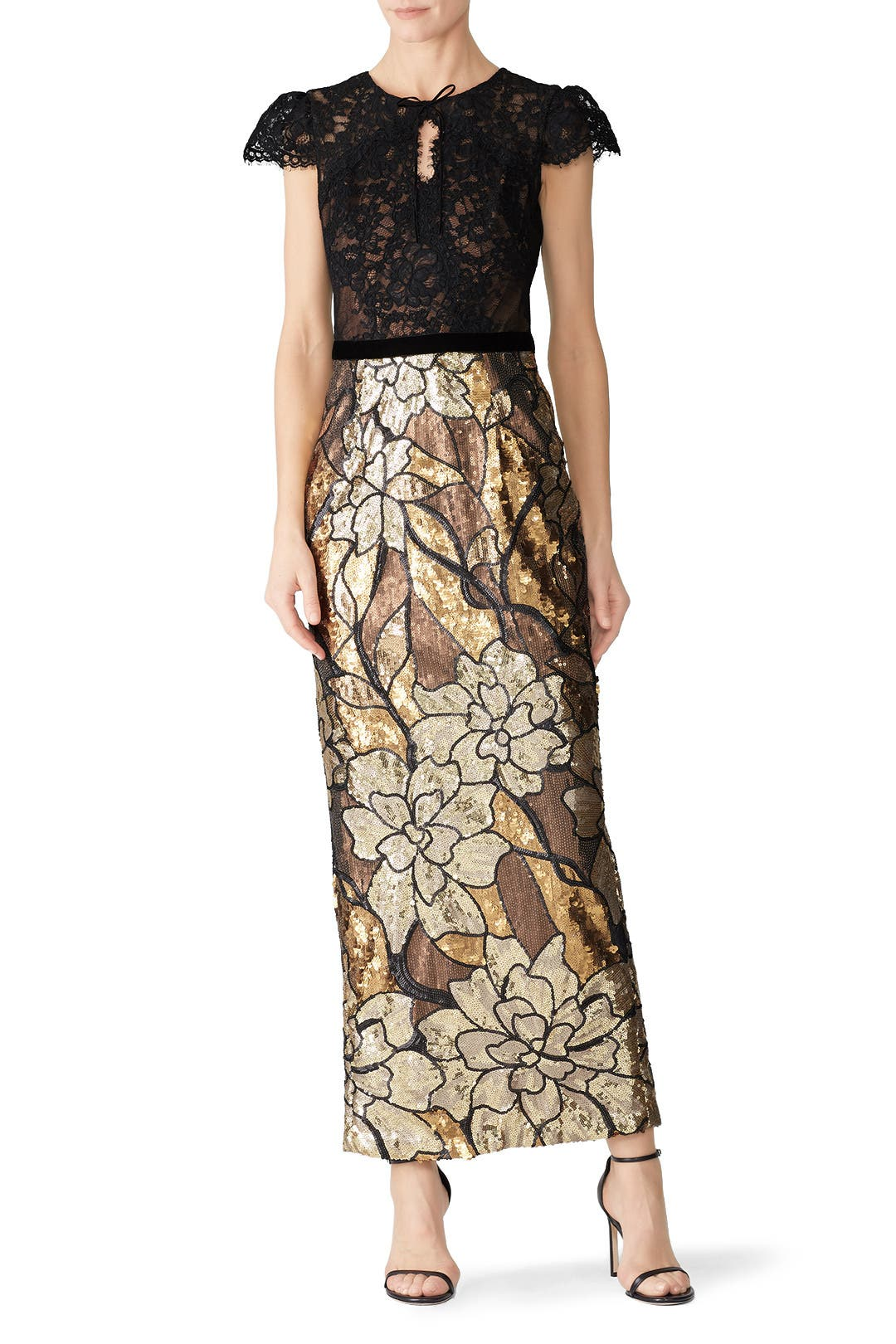 645fdbdbce33 Gold Artwork Sequin Gown by Marchesa Notte for  105 -  130