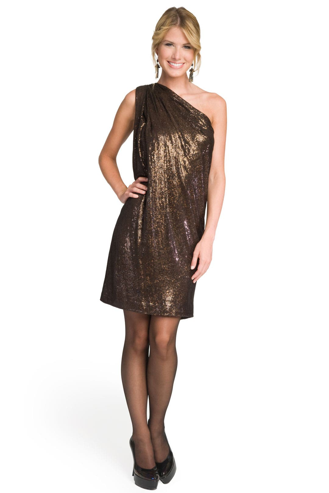 One Shoulder Sequin Sack Dress by Badgley Mischka