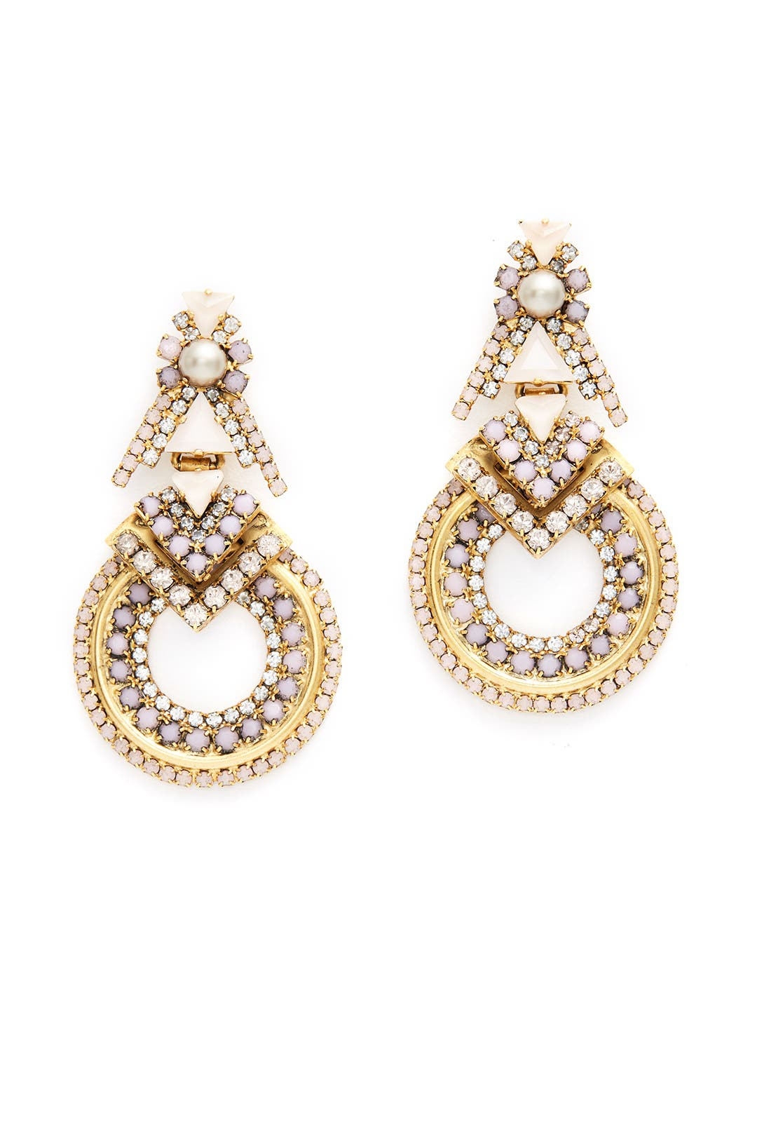 Blush Pave Stone Hoop Earrings By Elizabeth Cole For $45  Rent The Runway