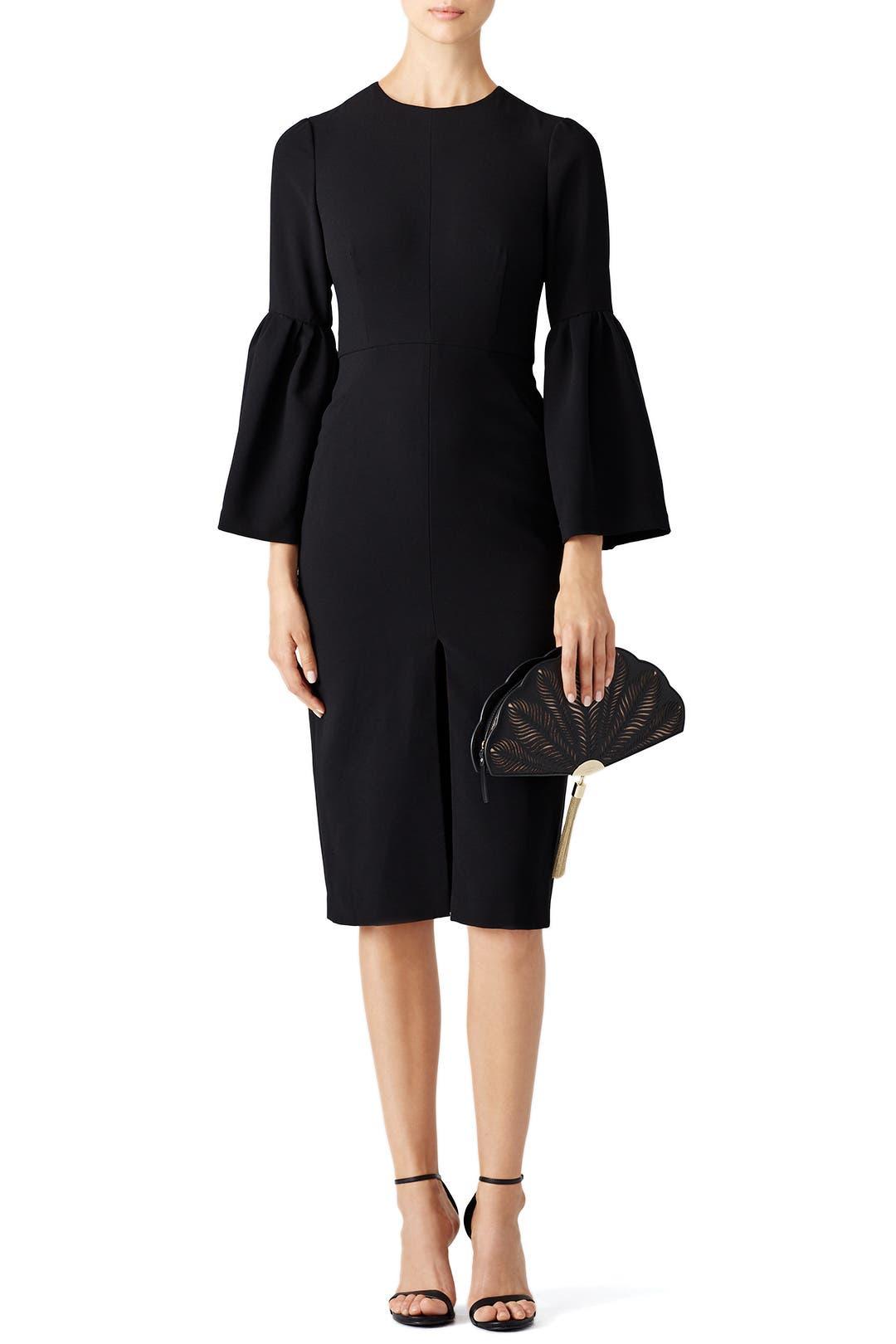 Black Cropped Bell Sleeve Dress By Jill Jill Stuart For