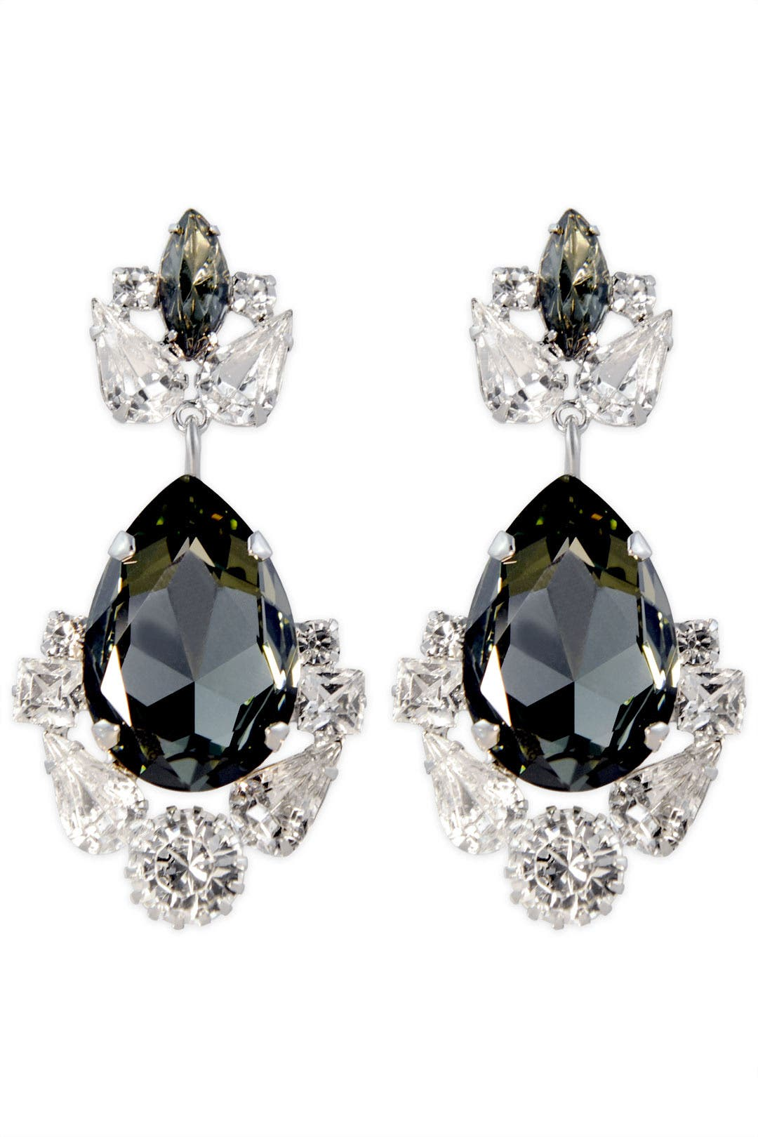 Smokey Crystal Crown Earrings by Janis Savitt