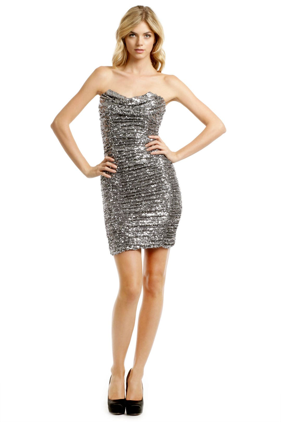 Silver Sequin Cocktail Dress by Badgley Mischka for $57 | Rent the ...