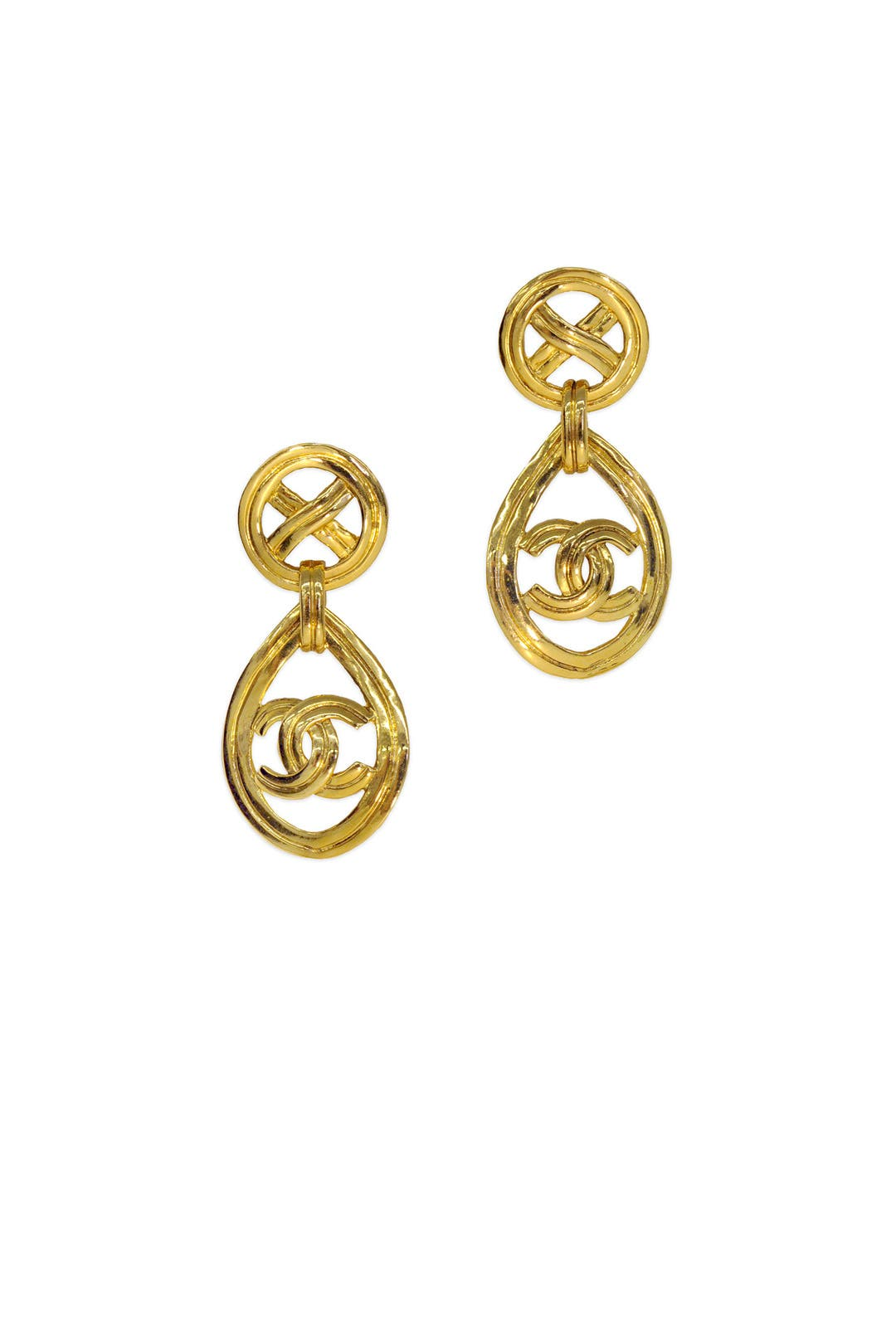 Vintage Chanel Cc Gold Drop Earrings By Decades Vintage For $125  Rent The  Runway