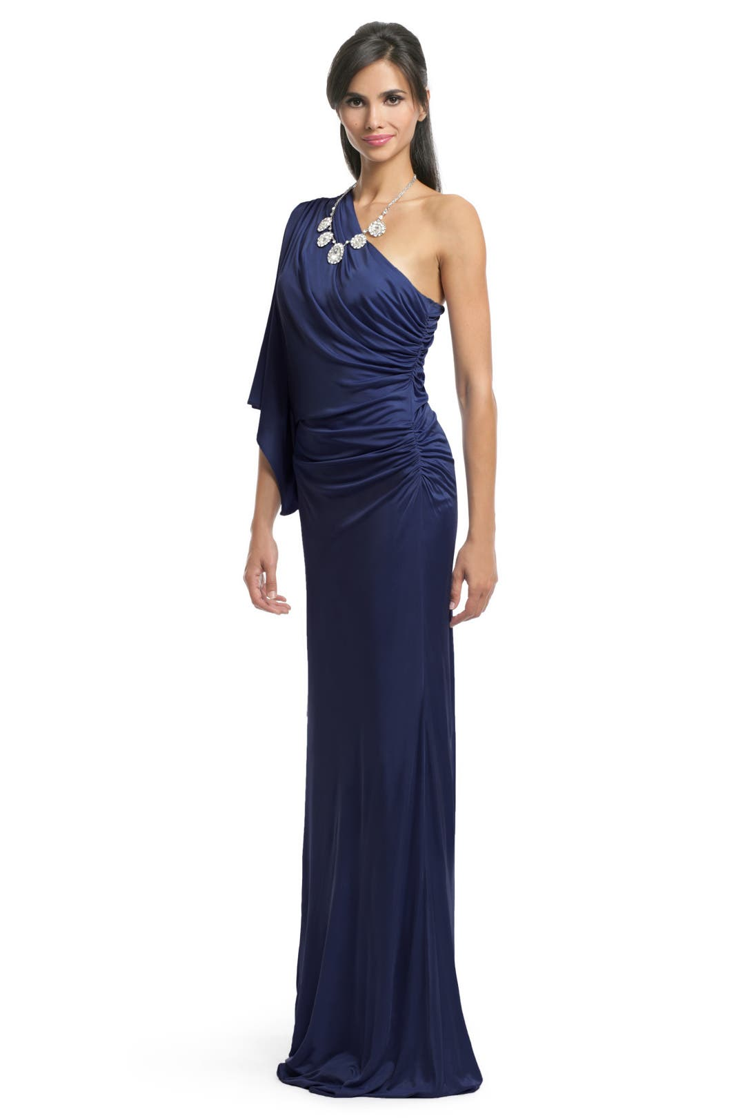 Navy Batwing Draped Gown by Yigal Azrouël