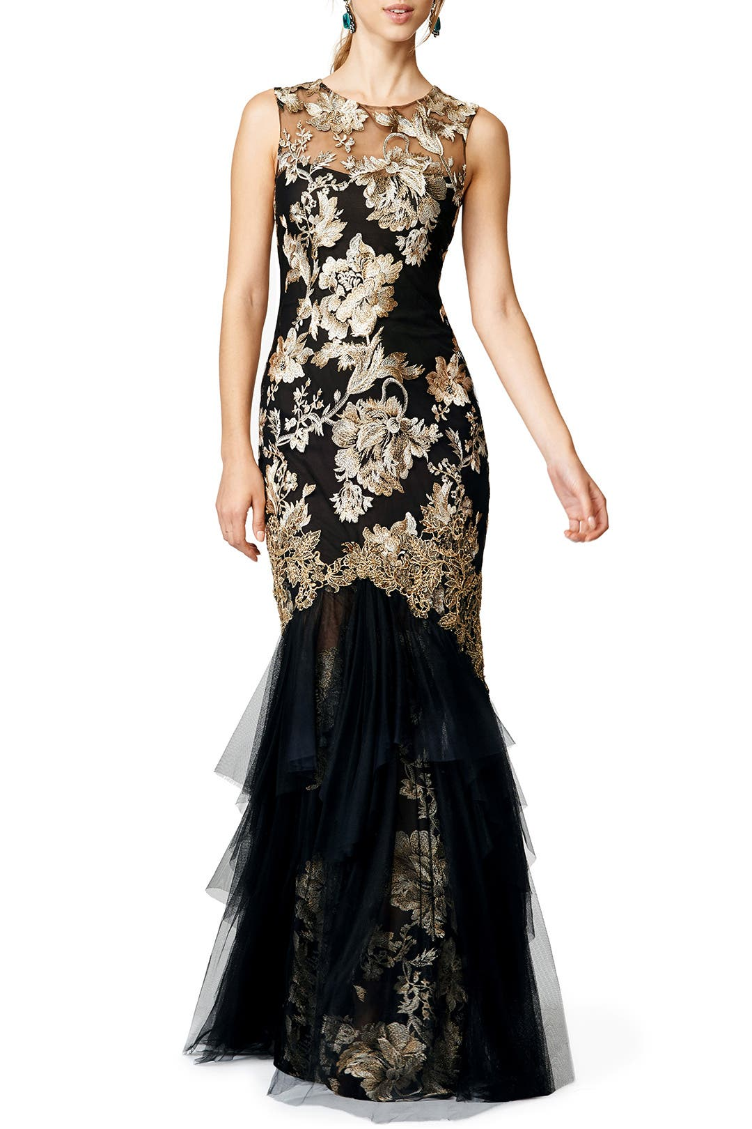 Midday Delight   Marchesa Notte Falling Roses Gown