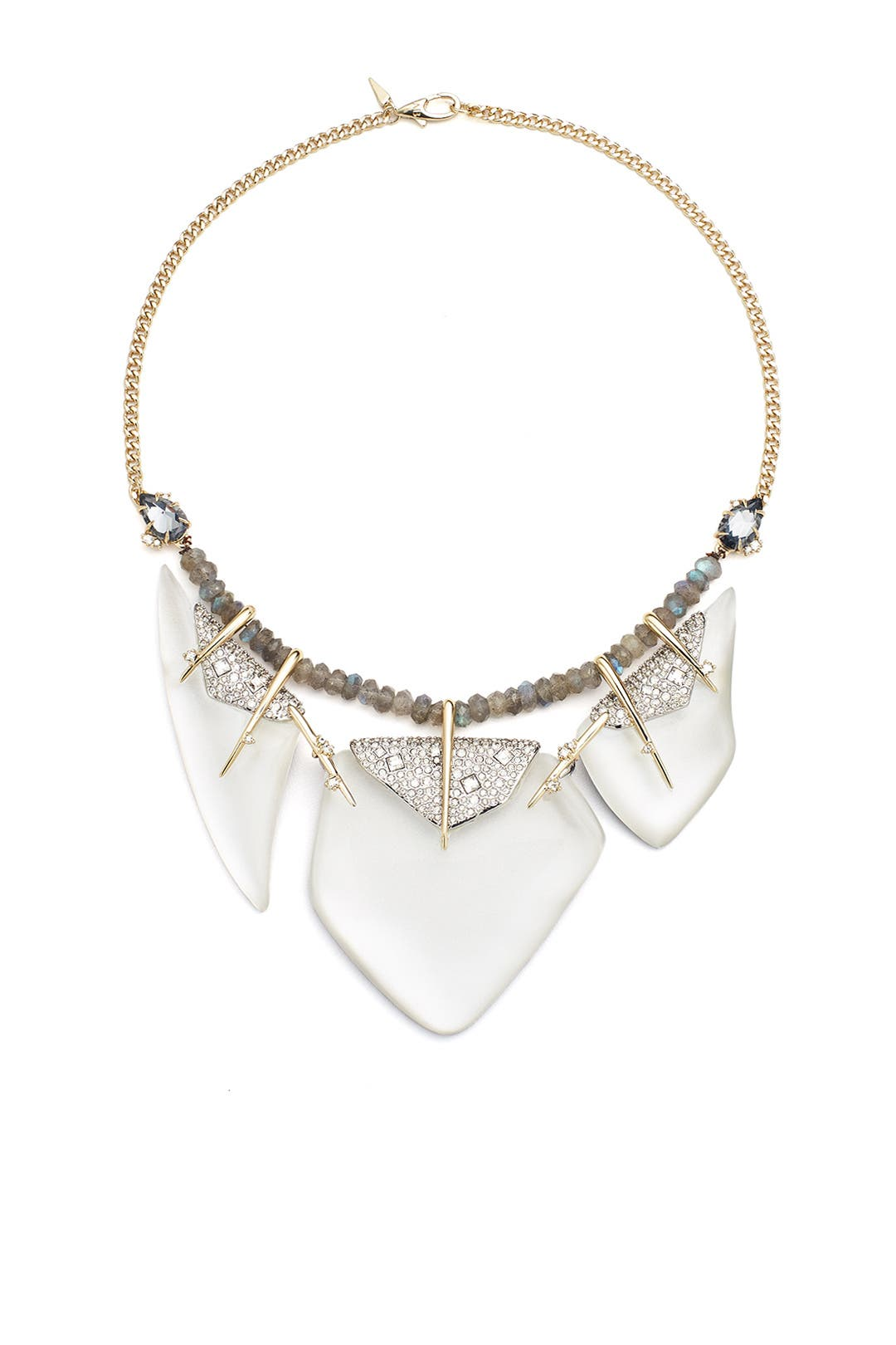 shop designers gold the for bittar stone alexis by necklace rent runway ash