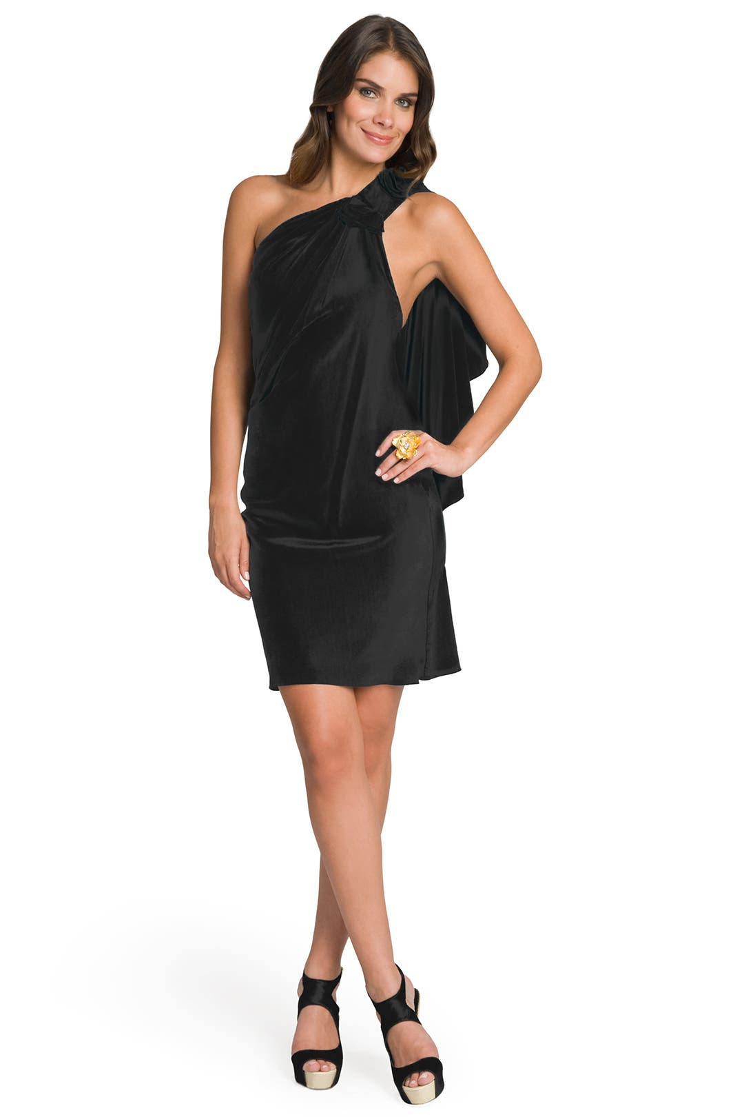 One Shoulder Draped Back Dress by Carlos Miele