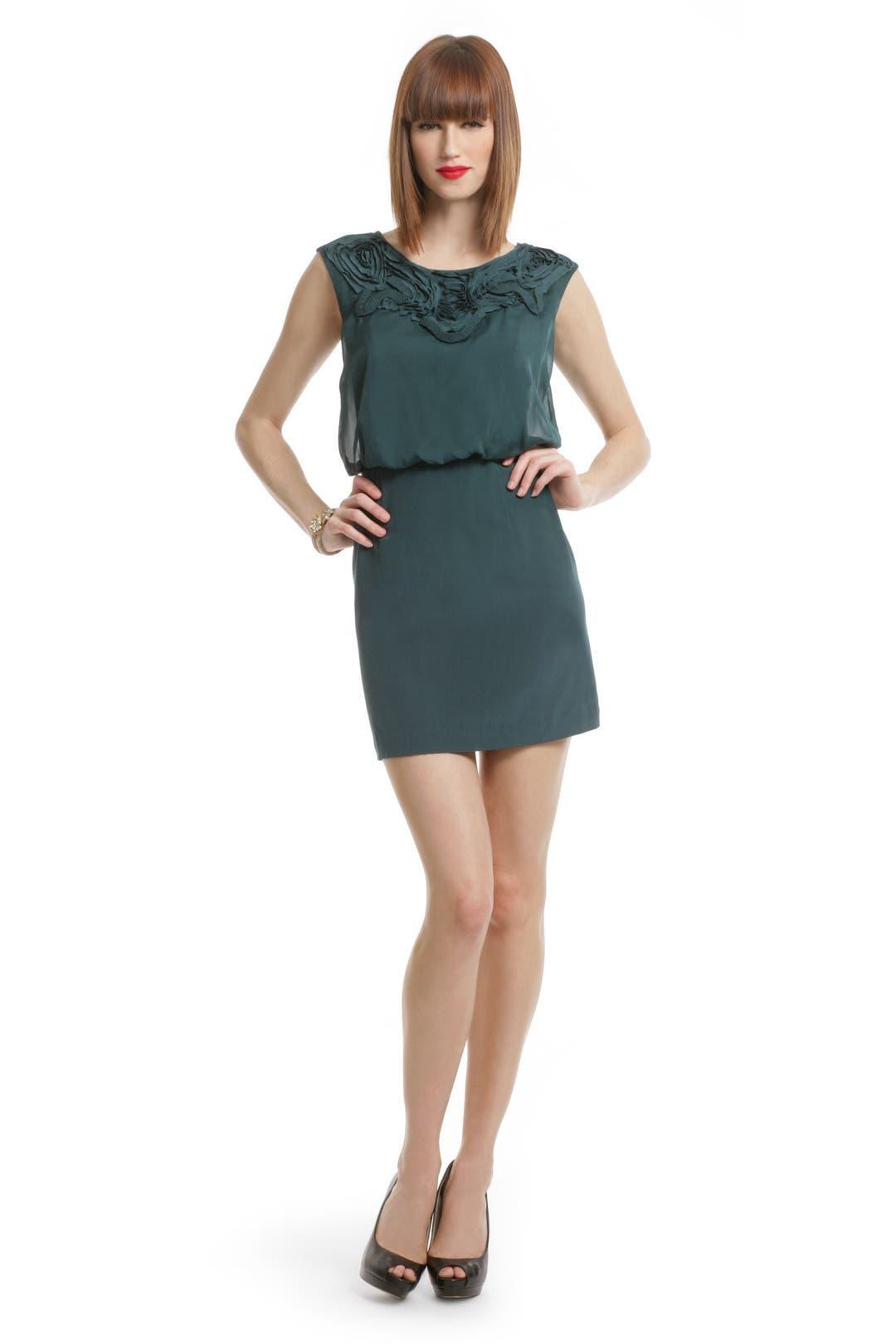Teal Applique Bloussant Dress by Tibi