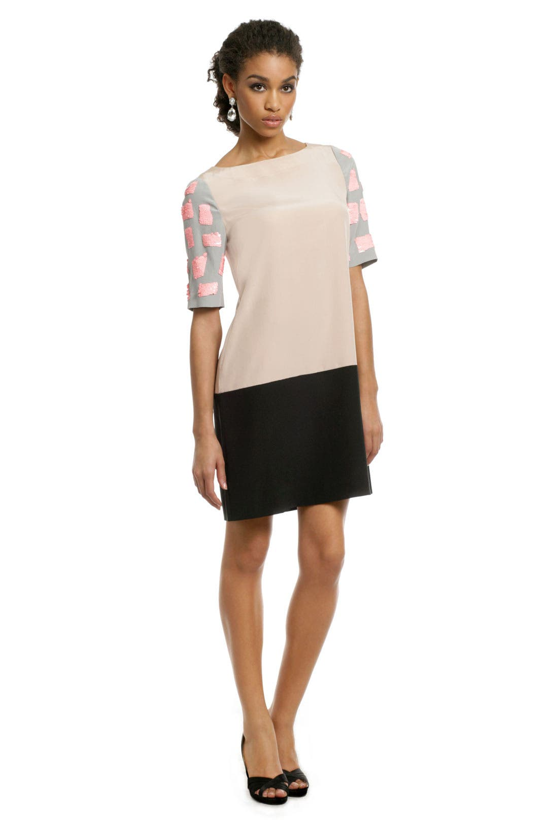 Mosaic Nude Colorblock Shift by Tibi